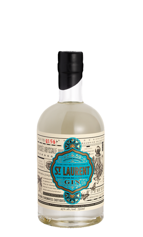 Gin aromatisé aux algues du St Laurent, cueillies à la main.